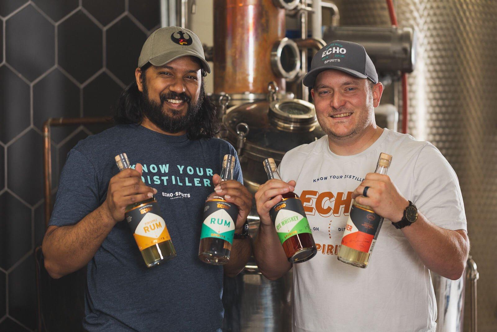 Nikhil Sharoff and Joe Bidinger, the Co-Founders of Echo Spirits Distilling Co.